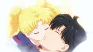 Sailor Moon Eternal - Young Usagi kissing Mamoru