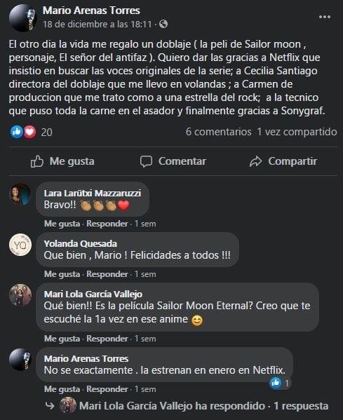 Mario Arenas Torres Facebook Post